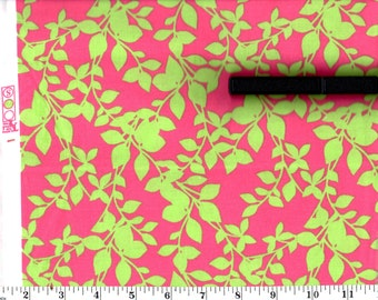1 Yard, Lime Green Leaves on Pink