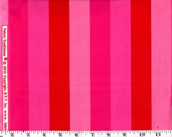 1 Yard, Fabric Traditions Large Stripe Pink and Red Cotton