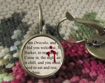 Count Dracula Vampire Earrings, Bram Stoker, Dracula Jewelry, Vampire earrings, Vampire Jewelry, Vintage Books, Literary