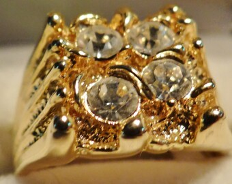 Men's Gold Tone Ring with Cubic Zirconia Settings Size 11