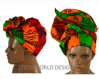 Regular size African head wraps/ African Headwraps Green Orange/ African Hair Wraps/ African Head scarf/ African Head Ties/  HT26