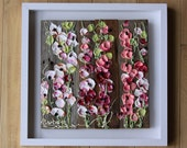 Holly Hock Time, 16x16, White frame, Abstract Floral Impasto Painting, Item# 267