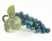 Vintage Oriental Chinese Stone Glass Grapes with Leaves