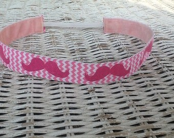 Pink Mustache Headband - Girls Sports Headband
