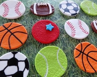 12 Fondant Edible Cupcake/Cookie Toppers - Sport Theme party-Basketballs/Soccer balls/Baseballs/Tennis balls/Footballs/Dodge balls,all stars