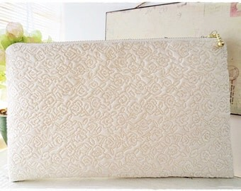 Large clutch purse, shimmering gold white ivory clutch purse, quilted purse, bride bridesmaids wedding bridal evening purse rose