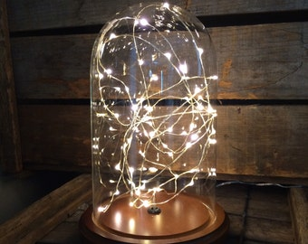 Starry Night Snow Globe Glass Dome Accent Lamp by Stonehill Design - Bell Jar, Cloche, Christmas, Holiday