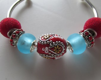 European Beaded Bracelet, Red and Turquoise Bracelet, Bangle Bracelet