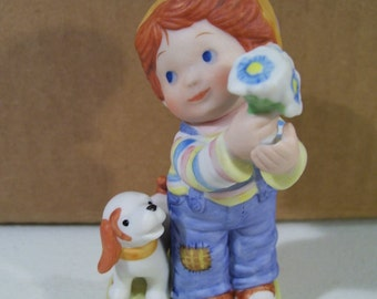 Vintage Avon Little Things Mean A lot Porcelain Figurine, Little Boy with Flowers, Puppy 1983