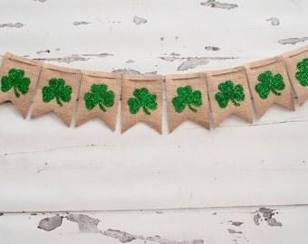 St. Patrick's Day Clover Banner, Shamrock Burlap Banner, Clover Banner, St. Patrick's Day Photo Prop B055