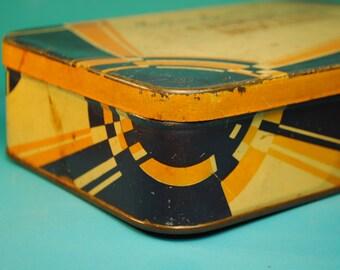 ART DECO Blue Orange Maison Lyons Candy chocolate biscut tin Desk Office Studio art Vanity bedroom Maison LYONS candy tin art deco patina