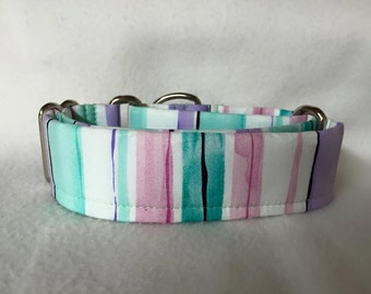 """Spring Fling Cory Stripe Lavender Martingale or Quick Release Collar 5/8"""" 3/4"""" 1"""" 1.5"""" 2"""""""