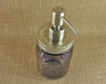 Lotion Pump - Heritage Collection Mason Jar - Purple - and Hand Made Brushed Stainless Steel Mason Jar Pump For Soap or Lotion