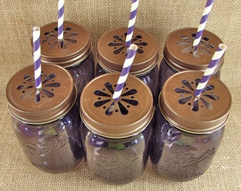 Heritage Collection Purple Mason Jars and Daisy Cut Lids Your Choice Of Color - 6 Sets Jar and Lid-- HPCB6