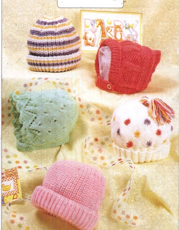 Vintage Knitting Patterns Baby Hats : baby knitting pattern for vintage baby / child hats birh to