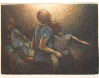 Glimpse - small original etching by Carrie Lingscheit