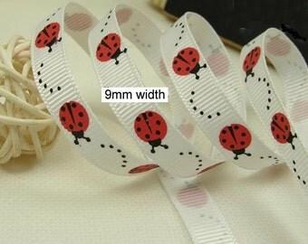 Wholesale  bulk lot  20Yards ladybug printiing  grosgrain Ribbon  diy craft  9mm 3/8inch