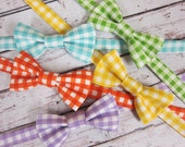 Boys Gingham Bow Tie- Toddler Gingham- Spring, Summer Bow Tie- Ring Bearer Bow Tie- Adjustable Strap- aqua, yellow, green, purple, orange