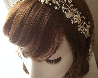 DARKWHISPER Couture Wedding Season Spring Handmade White Leaves & Crystal Bride Hair accessory