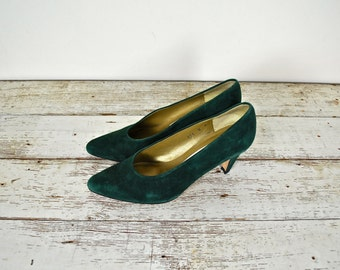 Evan-Picone Forest Green Vintage Pumps, Vintage Green Suede Shoes