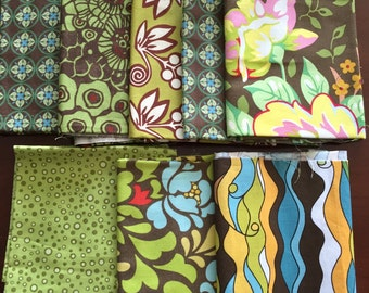 Destash Cotton Fabric -Green and Brown