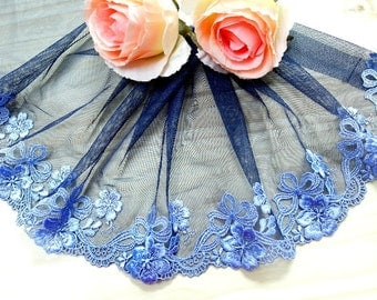 """DN630-8"""" Blue  Embroidered  Tulle Mesh Lace/Bridal/Lolita/  Trim by Yard"""