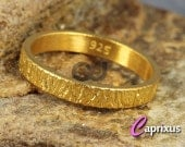 Handcrafted Wood Bark, Tree Bark Texture Ring, 24K Yellow Gold Vermeil over Solid Sterling Silver Thick Wedding Band - 3mm - FREE Engraving