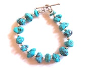 Southwest Style Sterling Silver and Turquoise Nuggets Bracelet