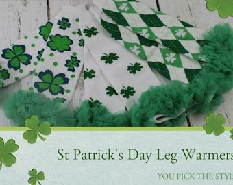 St Patricks Leg Warmers St Patricks Baby Girl Leg Warmers Shamrock Legwarmers  St Pattys Leg Warmers ruffle legging St Patrick photo prop