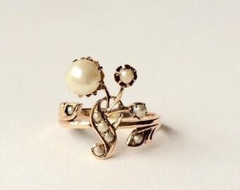 Antique Art Nouveau gold pearls engagement ring S4