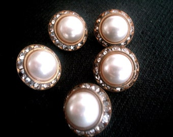 Five Clear Rhinestone & Faux Pearl Buttons 1950s