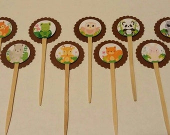 9ct woodland creatures cupcake toppers