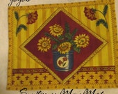 SUNFLOWERS MINI MAT Country Home Décor Snack Mat Candle Mat