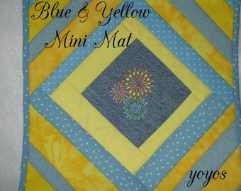 MINI MAT,  Blue, Yellow,  Pieced, Quilt,  Spring,  Summer,  Home Décor,  Table Mat,  Hostess Gift, Teacher Gift, Birthday, Gift for Women