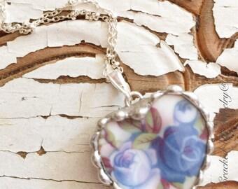 Broken China Jewelry, Broken China Necklace, Royal Albert China, Moonlight Rose Heart China Sterling Necklace