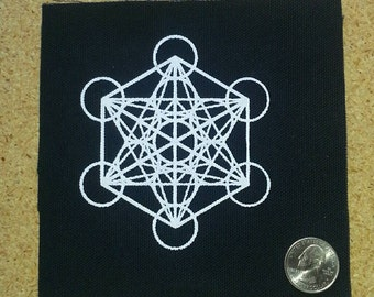 1 Patches - Metatron's Cube Screen Printed Sacred Geometry