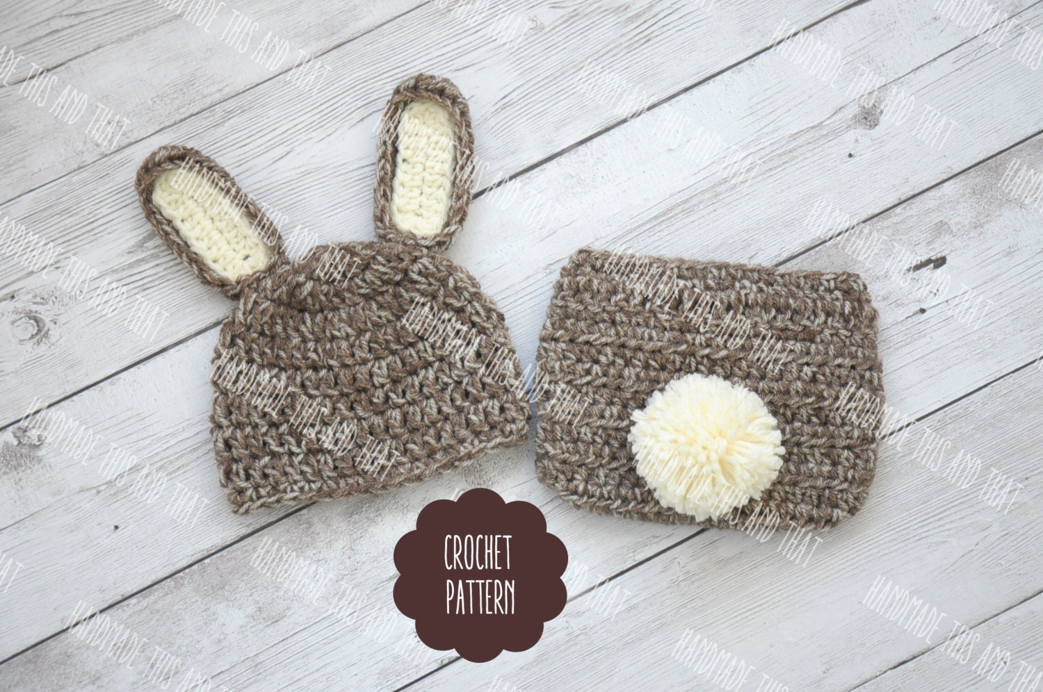 CROCHET PATTERN Newborn Bunny hat and diaper cover baby