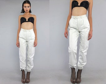 Vtg 80s White Futuristic Leather Minimal High Waist Pants M