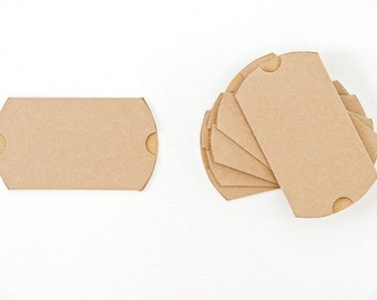 40 Medium Kraft Pillow Boxes 3.5x3x1 for Wedding Favors, Jewelry, Soaps, Gift Cards and More