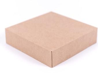 6 Kraft Gift Boxes 6.5 x 6.5 x 1 5/8