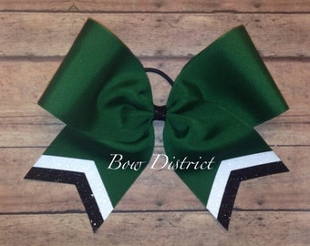 """3"""" Forest Green Team Cheer Softball Volleyball Bow with White and Black Glitter Tail Stripes"""