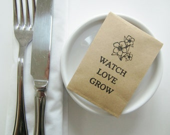 Wedding Favors-Seed Packet Favors-Watch Love Grow-Rustic Wedding-Personalized Favors-Unique Wedding Favors-Wedding Table-Wedding Favor Ideas