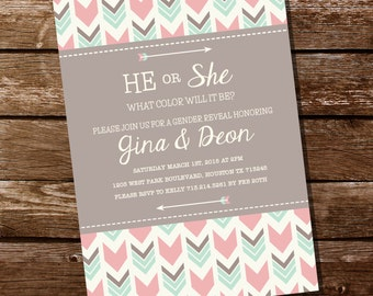 He Or She Tribal Gender Reveal Party Invitation - Tribal Gender Reveal Invitation - Instant Download + Edit at home with Adobe Reader