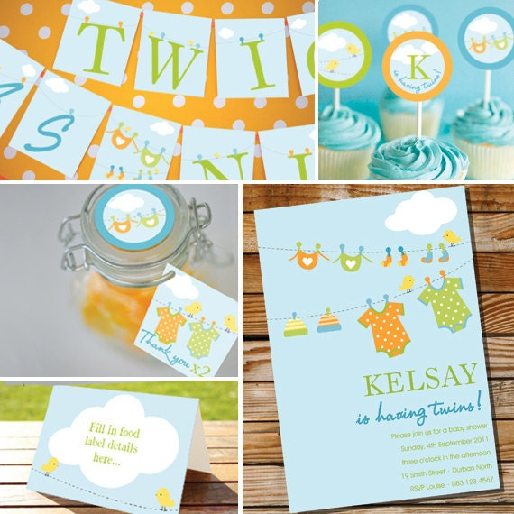 clothes line twin baby shower twin baby shower instant download