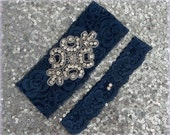 Wedding Garter Set - NAVY Lace SILVER Rhinestone Crest Show & Dual Stud Toss - other colors available