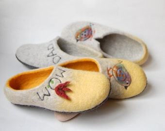 Love birds art Couples gift wedding gift felted slippers Mom and dad slippers love birds wedding  slippers - made to order