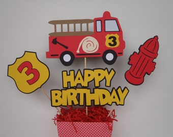 Fire Truck Birthday Centerpiece Die Cuts Firetruck Party Theme by FeistyFarmersWife