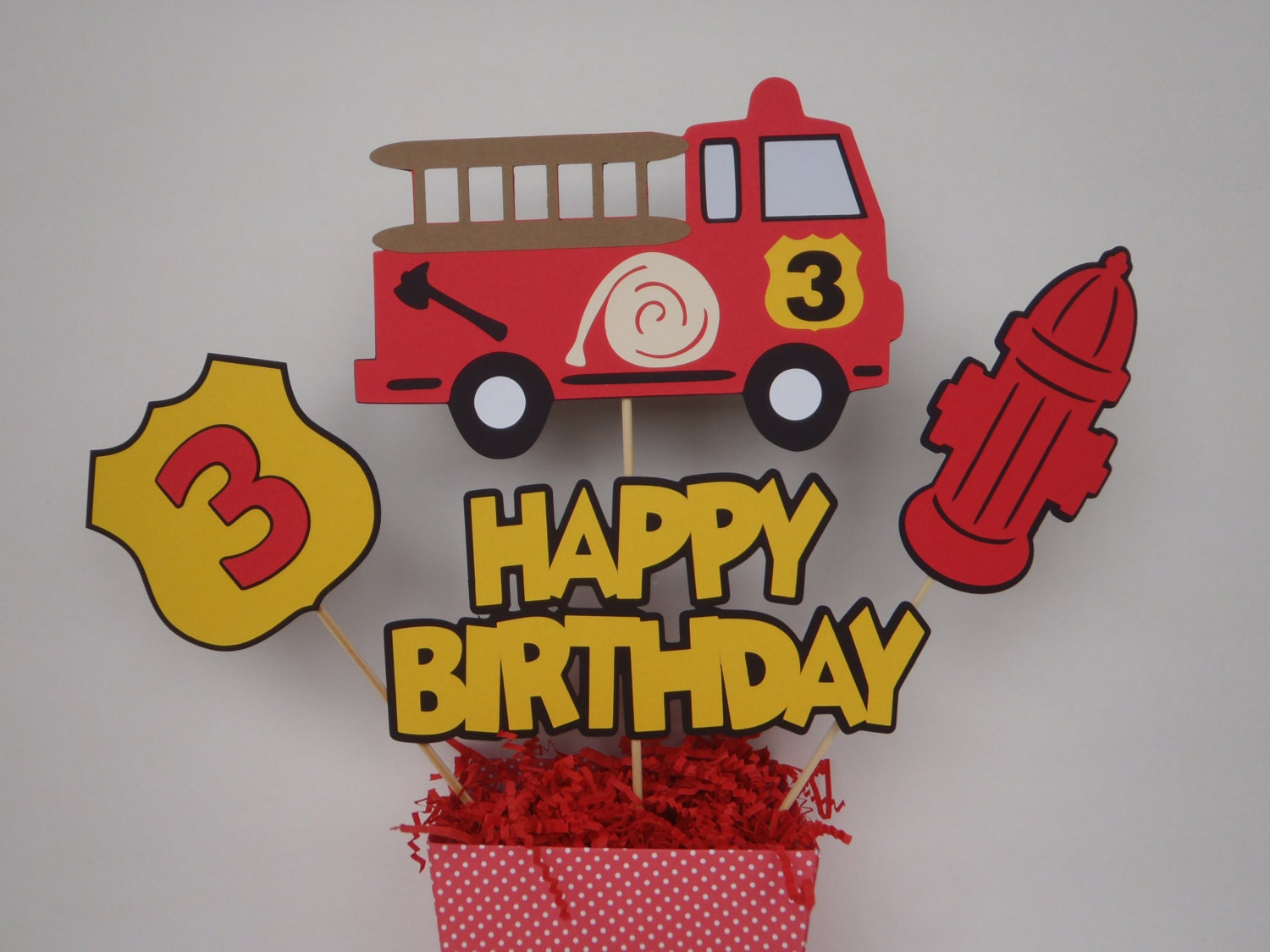 Fire truck birthday centerpiece with box firetruck party theme
