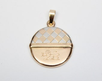 Edwardian 14k Two Tone Gold Locket with Lion Motif and Monogram