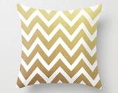 Gold Chevron Throw Pillow - Geometric Pillow - Modern Decor - Throw Pillow - Urban Decor - by Beverly LeFevre
